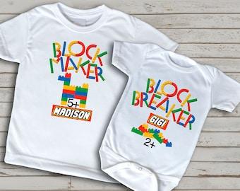 Big Sister Little Brother t-shirt, fun shirt for kids, building blocks, custom sibling shirt set for siblings, big brother, inspired
