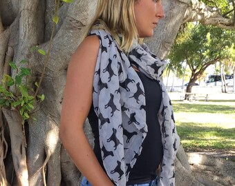 Dog Print Scarf / Beige and Black Mothers Day Gift / Spring Scarf / Women Scarves / Infinity Scarves / Fashion Accessories / Gifts For Her