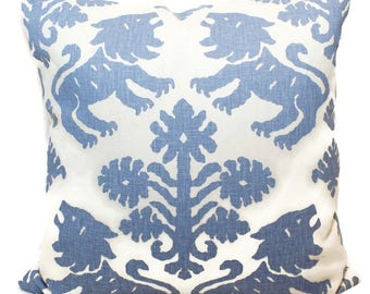 Schumacher Blue Regalia Lion Decorative Pillow Covers 18x18, 20x20 or 22x22, 24x24, 26x26 or Lumbar Pillow Cover, Throw pillow cushion cover