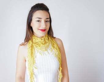 Yellow Scarf Lace Scarf Lace Headband Summer Scarf Fringe Scarf Lace Outfit Bridesmaid Gift Girlfriend Gift For Her   Inspirational/ SCARFA