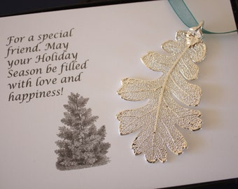 Silver Oak Leaf Ornament, Real Lacey Oak Leaf, Extra Large, Ornament Gift, Christmas Card, Happy Holiday Gift, First Christmas, ORNA78