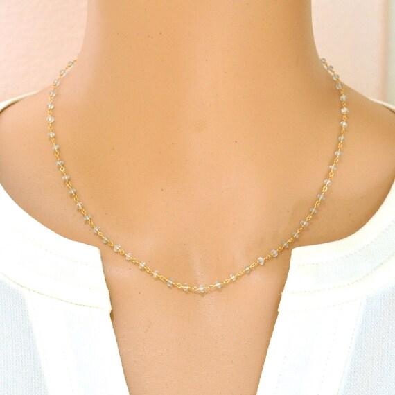 18K Gold. Aquamarine Necklace, Tiny Blue Aquamarine necklace, March Birthstone Jewelry, Blue stone Necklace, Delicate and Feminine