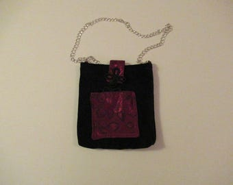 Upcycled Crossbody Cell Phone Bag, Black Doe Suede with Oriental Flair