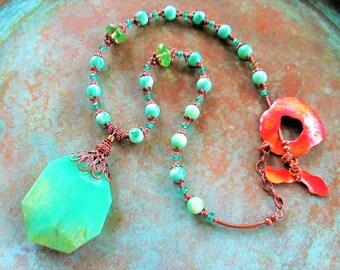 Chrysoprase necklace, copper necklace, Chrysoprase, Turquoise Jade necklace,Southwest necklace, artisan necklace, Aqua Picasso necklace