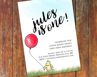 Winnie The Pooh Invitation, Classic Winnie The Pooh Invitations, Pooh Birthday Invitation, Balloon, Personalized, Printable, Digital