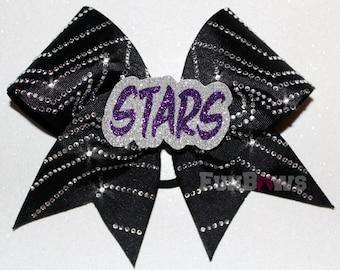 STARS 3-D Rhinestone Allstar cheer bow by FunBows !