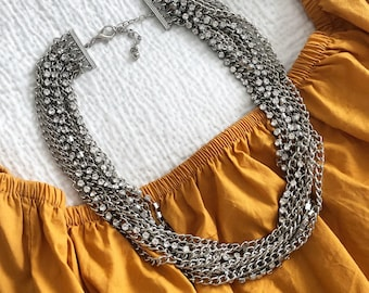 The Nanon Layered Chain Statement Necklace, Chunky Silver Necklace, Multi Chain Necklace, Multistrand Statement Necklace, Statement Piece