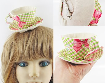 MADE-TO-ORDER ( 1 - 2 Weeks) -Textile Teacup Fascinator (Hair Clip for Children & Adults) -Bow Gingham Check Pink x Green