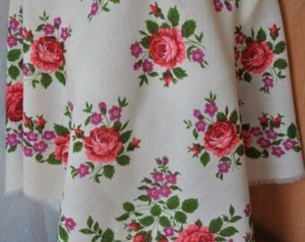 Vintage large wool floral square scarf