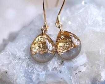 charcoal and gold leaf teardrop earrings on 14 karat gold fill ear wires