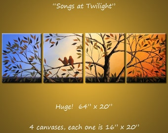 """Original Art Large Birds Painting Modern Trees Huge ... 64"""" x 20"""" ... Songs at Twilight, by Amy Giacomelli, great wedding gift"""
