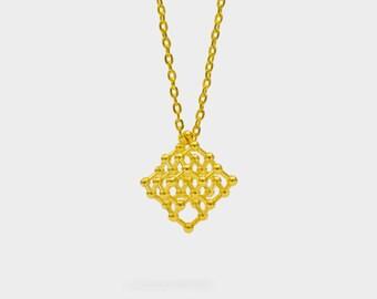 Diamond Molecule Science Necklace 3D