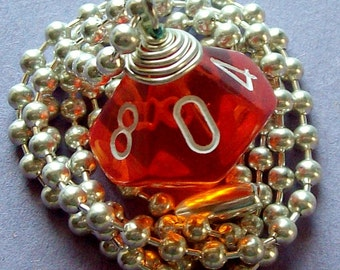 D10 Dice Pendant - Transparent Orange - Geek Gamer DnD Role Playing RPG