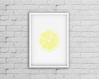 Lemon Print, Citrus Fruit Print, Lemon Art, Contemporary Art, Kitchen Art Decor, Yellow Artwork Prints, Food Wall Art, Lemon Decor Printable