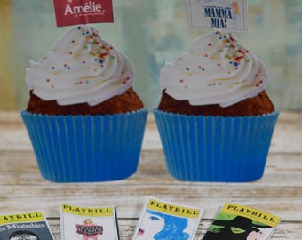 Cupcake picks Broadway musical Playbill theme, Mamma Mia, Hairspray Musical, Wicked musical
