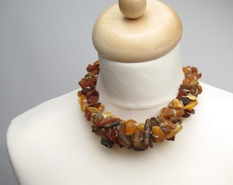 Unpolished Natural Baltic Amber Necklace Statement Piece Raw Brown Orange Honey Earthy Colors Bagel Organic Fashion