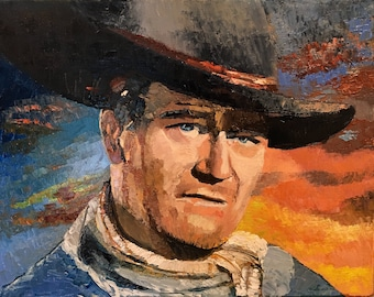 Original Painting of John Wayne as the character in the movie The Searchers, cowboy hat, Western Movie, Western