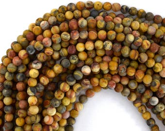 """6mm matte natural crazy lace agate round beads 15.5"""" strand 39207"""