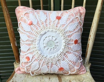 Vintage Crochet Mixed Doily Pillow with Blue  Waverly Peach Pattern linen, Vintage Button, peachy/pink dot linen back