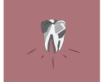 Tooth Print Tooth Illustration Digital Illustration Art Print