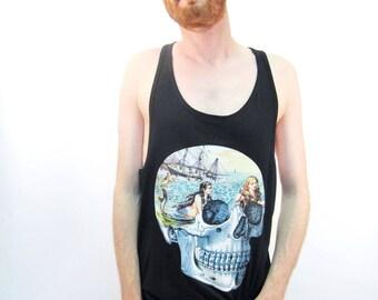 Mermaid Skull Tank Top Mermaid Top For Men Skull Tank Top Rockabilly Sailor Clothing Festival Clothing