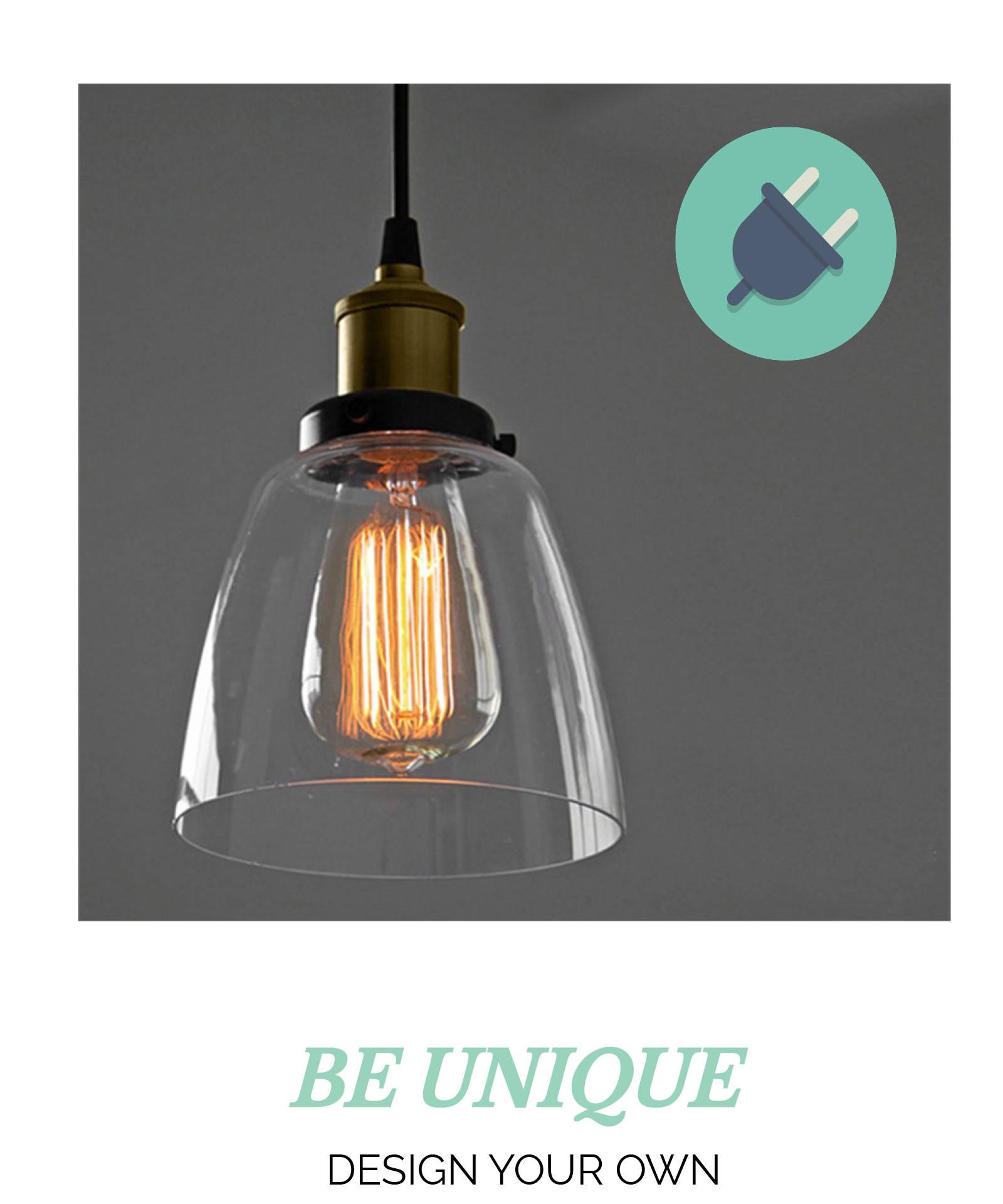 Plug In Glass Shade pendant light Custom Cord Length Fabric