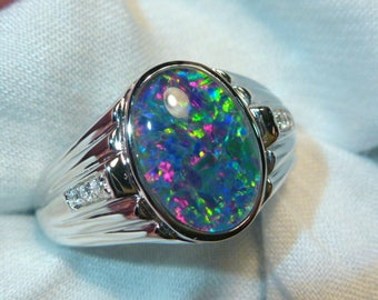 Mens Opal Ring Sterling Silver, Natural Opal Triplet. 13x9mm Oval. item 060741.