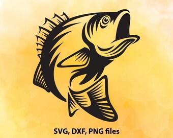 Bass SVG, Fishing DXF, Bass Cut File, Bass clip art, Bass PNG, Bass Cricut, Bass Silhouette, Bass Cutting, Bass design, Instant download