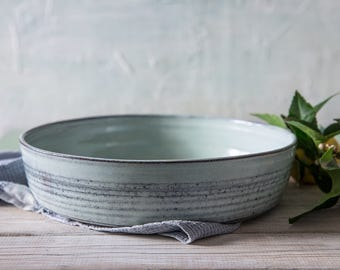 Big ceramic bowl, Light blue ceramic serving bowl, Ceramic baking dish, Pottery Holidays gift, Large pottery fruit bowl, Pottery centerpiece