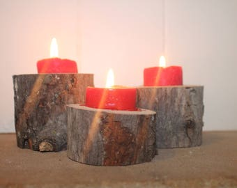 Live Edge Rustic Tea Light Centerpiece/Mantle Decoration