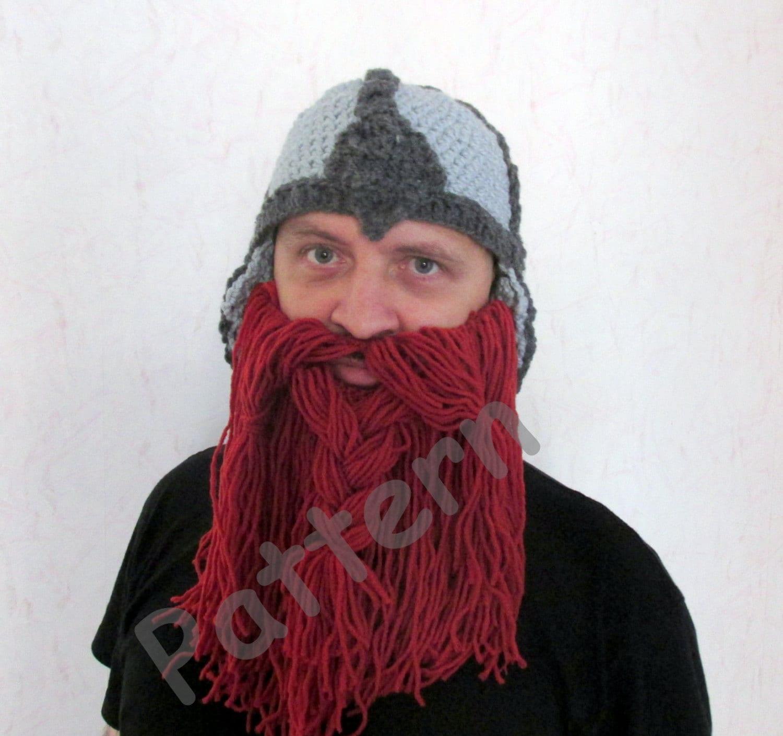 Crochet Viking hat pattern Crochet Beard hat Pattern adult size ...