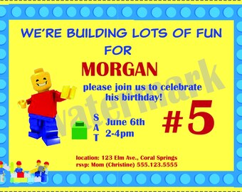 Building Block Birthday Invitation
