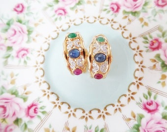 18K Gold Gemstone Earrings Vintage Emerald Ruby Sapphire Diamond Half Hoop Luxury Retro Estate Jewelry