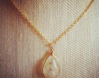 Dandelion seed wish flower necklace cast in resin