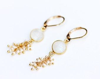 Moonstone Pearl Cluster Earrings