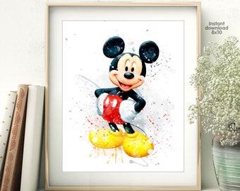 Mickey Mouse Watercolor Art Print - Wall Decor - Watercolor Painting - Artwork - Home Decor - Kids Decor - Nursery Decor