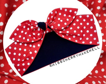 Red & White Polka Dot Minnie Mouse Rockabilly Vintage Pin Up 1950's Inspired Head Scarf Hair Tie Headscarf Hair Bow by Miss Cherry Makewell