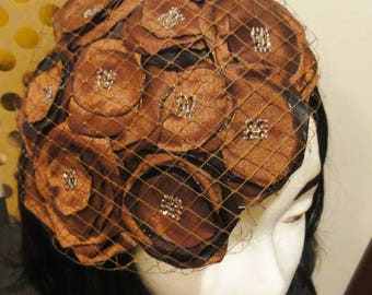 Brown Rosette Handmade Handsewn Fascinator Headpiece