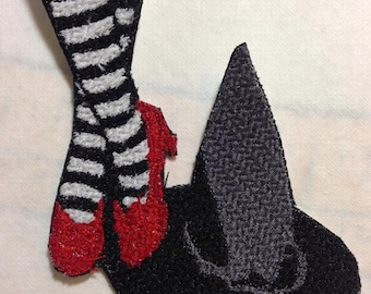 Iron On Patch Witch Stripped Socks, Ruby Red Slippers, Black Pointy Hat