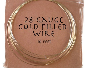 28 Gauge Gold Filled Wire, 10 Feet of Round, Half Hard Wire for Wire Wrapping Jewelry, Thin Gold Wire for Natural Gemstones