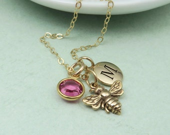 Gold Bee Necklace personalized with initial and custom birthstone
