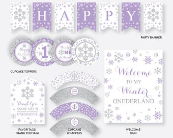 Instant Download, Winter Wonderland Party Package, Winter Onederland Birthday Package,First Birthday Party Package,Purple and Silver(GKB.08)