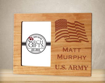 Personalized American Flag Military Branch photo frame/Hardwood walnut/cherry/maple engraved picture frame, personalized picture frame