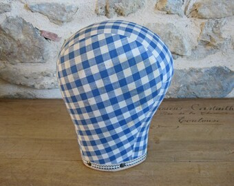 Hat display head, blue gingham covered head shaped wig holder
