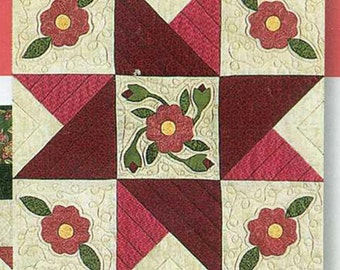 """Quilt Block of the Month Legacy Star month 12 """"Sweet Patience Blooms"""" one 18.5 """" center block"""