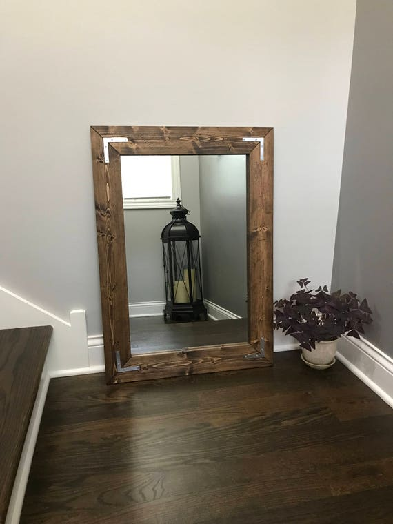 ESPRESSO Rustic Farmhouse Mirror Country FrameD Mirror Wood