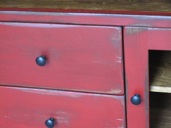 Red TV Stand / Wooden 60 Long TV Console / Cottage