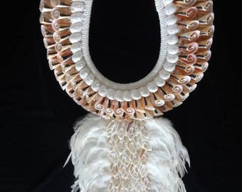 Fabulous foo foo feather Shell Necklace with Bulu Bulu Boho Luxe Women Fashion Home Decor Interior Art