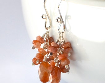 Sterling Silver and Natural Sunstone Earrings