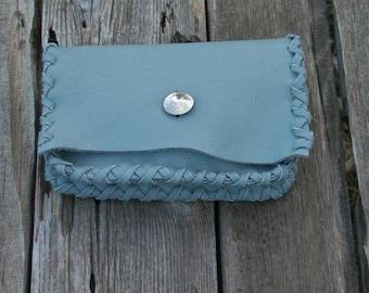 Light grey leather clutch , Soft leather wallet , Evening bag , Grey evening bag